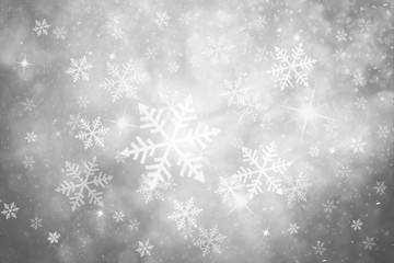 Beautiful silver colored abstract snowfall Christmas and New Year illustration background with sparkle. Beautiful silver colored greeting card with copy space background.