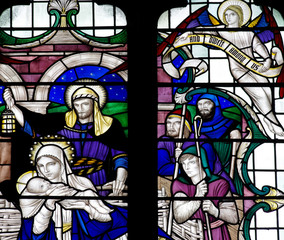 The Nativity: the birth of Jesus in stained glass