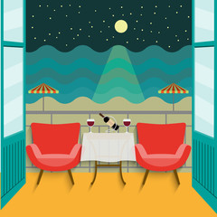 flat view from the balcony sea at night and starry sky. Romantic date with red wine. vector illustration