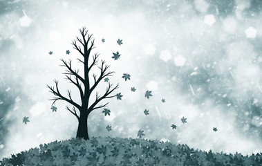 Soft dark blue colored autumn season tree with leaves in the wind. Lonely tree symbolizes sadness. Conceptual autumn season tree with leaves illustration with copy space background.