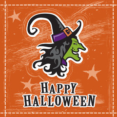 Halloween witch illustration, happy greeting card design, orange