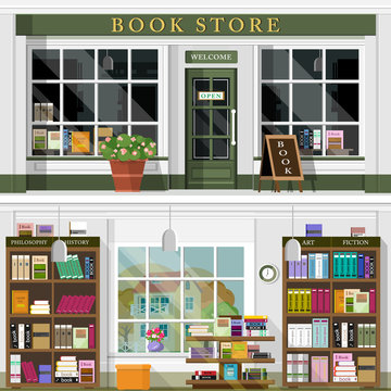 Set of vector detailed flat design bookstore facade and interior. Cool graphic interior design for book shop with books, book cases, shelves, places for reading. Flat style vector illustration.