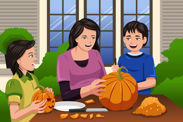 Mother Kids Carving Pumpkins