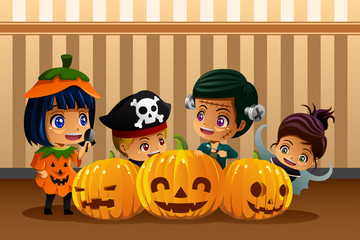 Little Kids Wearing Halloween Costumes