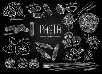 Vector hand drawn pasta menu. Vintage chalkborad line art illust