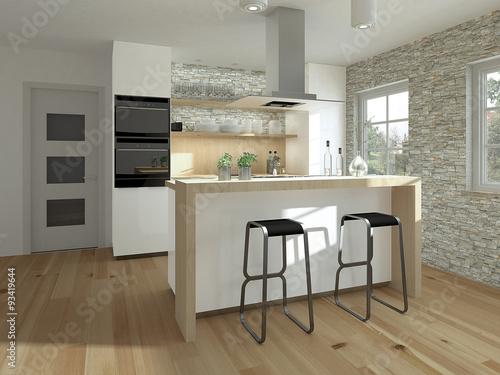 Küchenblock mit theke  Kleine Küche mit Theke und Holzelementen