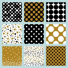 Modern christmas polka dots seamless pattern set in black, gold