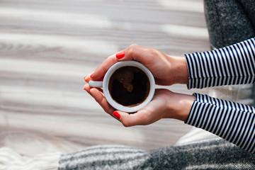 Woman loves coffee