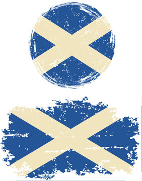 Scottish round and square grunge flags. Vector illustration.