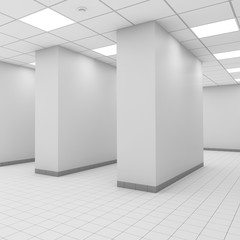 Abstract modern white office interior with columns