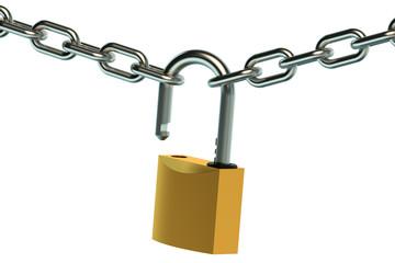 opened padlock and chain