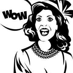 pin up retro girl say wow. Vector illustration