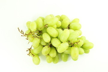 green grapes bunch on white background