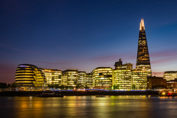 Modern London panorama after sunset - south bank of river Thames including the City Hall and The Shard