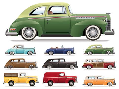 1940s Car Lineup Vector Set