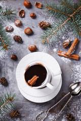 Hot chocolate on Christmas day with the aroma of cinnamon.