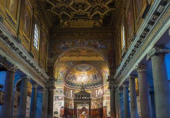Interior of Basilica di Santa Maria in Trastevere, Rome. Italy