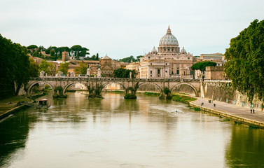 Printed roller blinds Rome view of Basilica St Peter and river Tiber in Rome. Italy