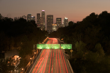 Los Angeles sunset highway traffic skyline