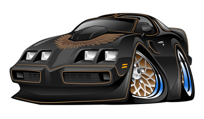 American Black Muscle Car Cartoon Vector Illustration