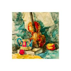 Violin on table, vector illustration