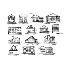 Set of sketch house, vector illustration