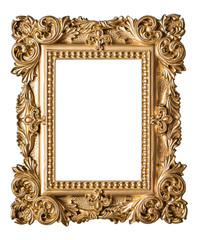Picture frame baroque style. Vintage art gold object