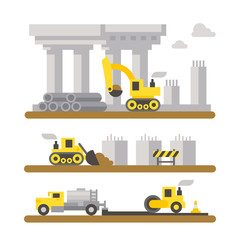 Construction site machineries flat design