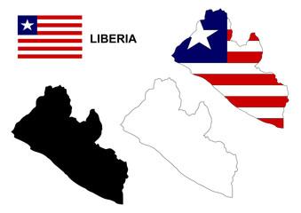 Liberia map vector, Liberia flag vector, isolated Liberia