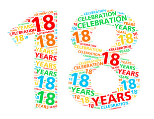 Colorful word cloud for celebrating a 18 year birthday or anniversary