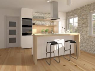Kleine Küche mit Holzelementen