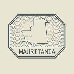 Stamp with the name and map of Mauritania