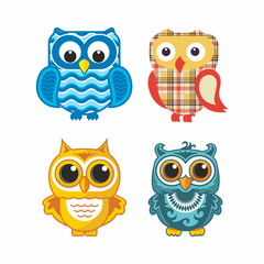 Canvas Prints Owls cartoon Set of owls