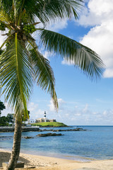 Scenic view of the Farol da Barra Salvador Brazil lighthouse from behind a palm tree on a nearby beach