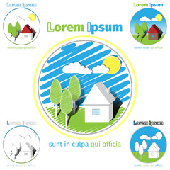 Set of illustrated buttons showing a house with landscaped garden in summer. Vector illustration 10 EPS
