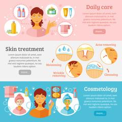 Skin Cosmetology Banners Set
