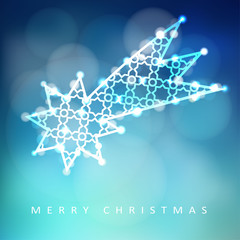Christmas greeting card, invitation with illuminated falling star, glittering comet