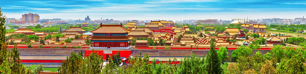 In de dag Beijing Jingshan Park,panorama above on the Forbidden City, Beijing.