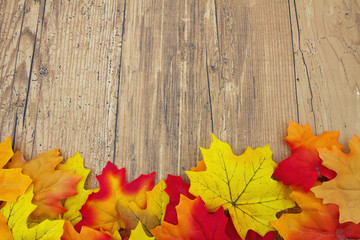 Autumn Leaves and Weather Wood Background