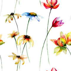 Seamless wallpaper with stylized flowers