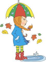 Девочка с зонтом вектор