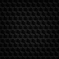 Black cubes 3D render - geometric pattern background