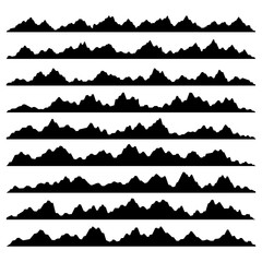 Mountain Panoramic Silhouettes Set on White Background. Vector