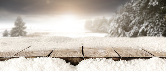 desk of winter snow