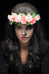 beautiful woman with make-up skeleton