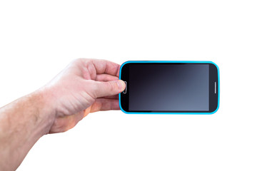 Hand holding smartphone with blank screen isolated on white