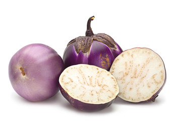 Round eggplant on white
