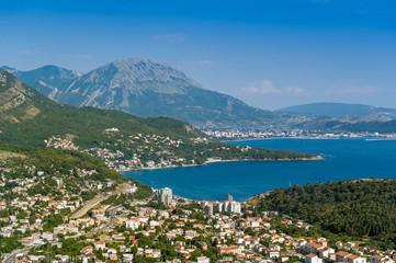 Popular touristic village Sutomore on the shore of Adriatic sea. Montenegro