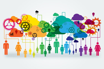 Network vector design concept. Abstract people linked to colorful clouds