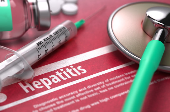 Hepatitis. Medical Concept on Red Background.